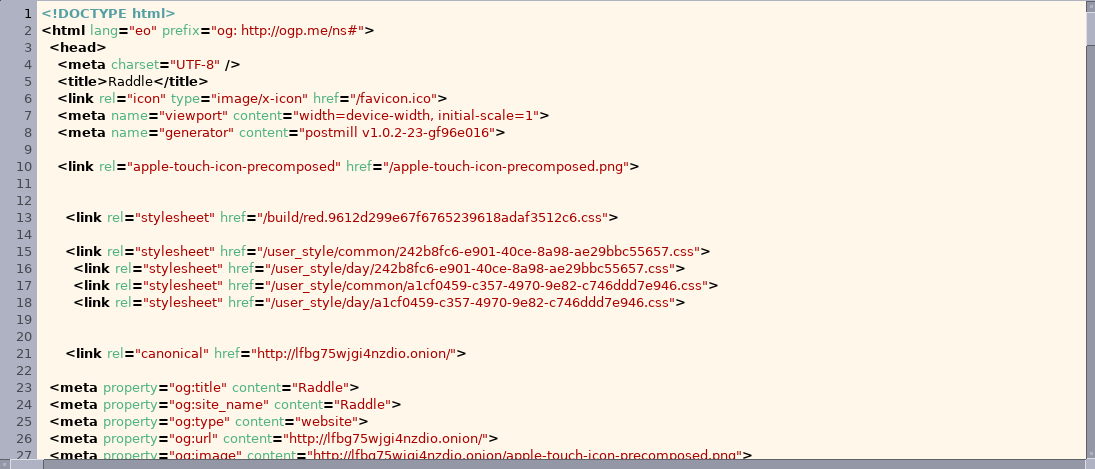 Raddle's website HTML— it is orderly, well-formatted, 		with plenty of line-breaks, and is perfectly legible.