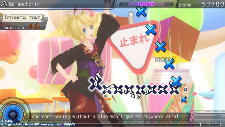 "A screenshot of Project Diva f, with subtitles saying: ""And confronting    without a clear plan wont get me anywhere at all"""
